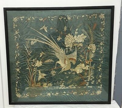 Lovely Antique Chinese Silk Textile With Many Birds And Flowers Embroidery