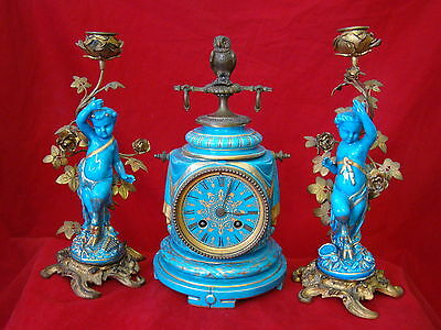 Guranteed to be Real Antique Sevres Celeste Clock Set with Cherub Candle Holder