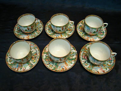 Lovely Antique Chinese Rose Medallion Set of 12 Cups & Matching Saucers