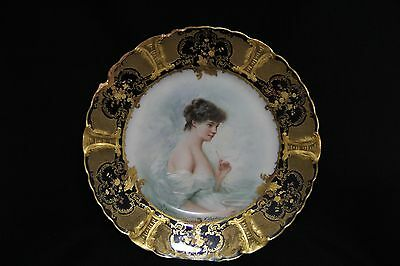 Wonderful Antique H&C French Porcelain Plate with Hand Painted Portrait of Girl