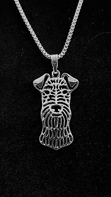 "Airedale Terrier Dog, Necklace, Pendant 18"" chain"