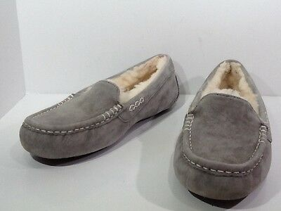 UGG Australia Women's Ansley Size 8 Grey Suede Fur Lined Slippers Shoes X3-358