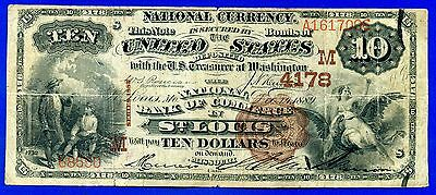 --1882 $10 National Currency (( St. Louis ))  Beautiful Artwork # A161700