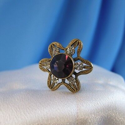 Antique Flower Shape with Purple Stone and 6 Rhinestones Hatpin Hat Pin