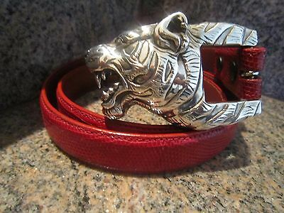 Rare!!! Kieselstein-Cord Sterling Tiger Buckle And Red Lizard Belt