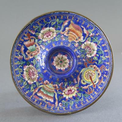 18Th Century Beijing Or Canton Enamel Saucer Or Cup Holder With Buddhist Symbols