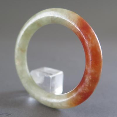 Fine Antique Chinese Jade Green And Red Carving For Child'S Bangle