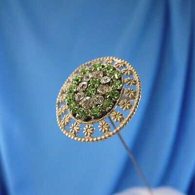 Antique Very Unusual Green and Clear Rhinestones with Flowers Hatpin Hat Pin