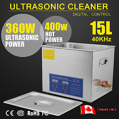 Stainless Steel 15L Industry Heated Ultrasonic Digital Cleaner Heater w/Timer CA