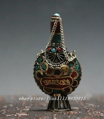china Collectible exquisite old nepal turquoise lucky snuff bottle N9