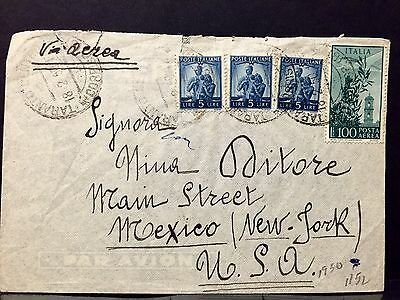 Italy Airmail Cover 1950 to U.S..