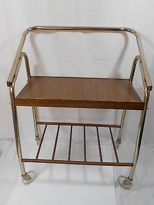 Vintage Television TV Cart Stand Stereo Rolling Rollers Mid Century Metal Wood