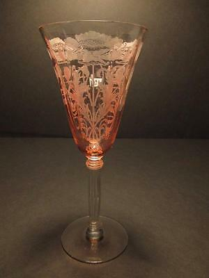 "Tiffin FLANDERS Pattern PINK Bowl Clear Stem 8 1/4"" Water Goblet(s)"