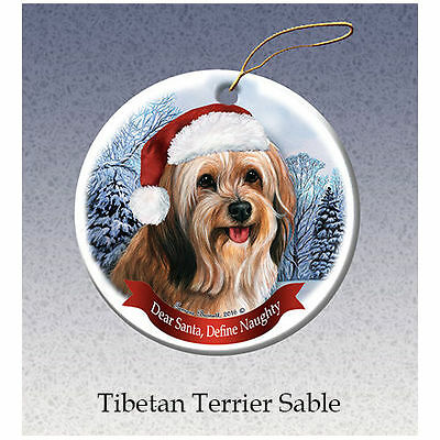 Tibetan Terrier Howliday Porcelain China Dog Christmas Ornament