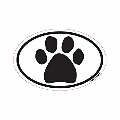 Paw Print Oval Euro Style Car Dog Magnet