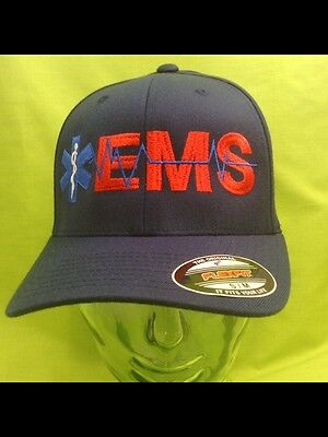 NEW Embroidered EMS Medical Star Of Life Rescue Navy S/M FlexFit Hat Cap