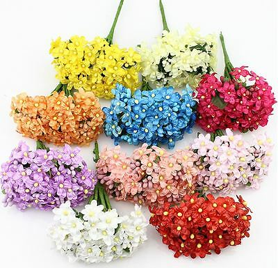 12pieces Artificial Plum Stamen Berry Flower, Fake Flowers Wedding Decoration