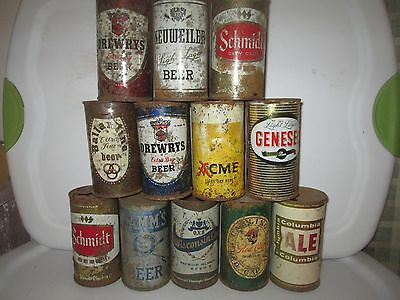 Instant Vintage Collection  Of Twelve  Various 12 Oz  Flat Top Beer Cans.