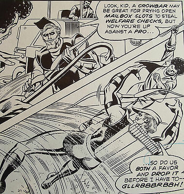 Original Comic Art World's Finest 258 Page 4 Green Arrow Crowbar Hit To Head!