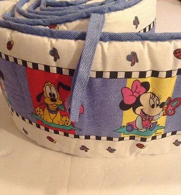 Disney Baby Mickey Minnie Mouse Pluto Butterfly Vintage Crib Padded Bumper