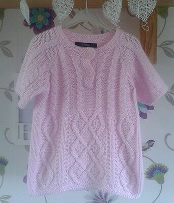 Girls lovely short sleeved cable knit jumper pale pink 4-5 years from George