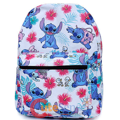 """Lilo and Stitch Large School Backpack with Angel 16"""" AOP Book Bag White Aloha"""