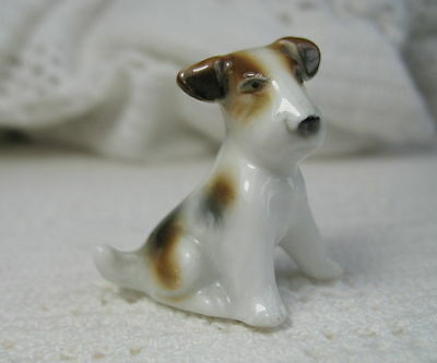 "Vintage Porcelain WIRE HAIRED FOX TERRIER PUPPY Sitting ~ 1-3/8"" Tall ~ Germany"