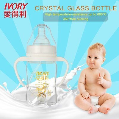 IVORY High Temperature-resistance Glass Feeding Bottle With Straw/Handle