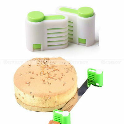 2 Pcs/Set 5 Layer Cake Bread Cutter Leveler Slicer Cutting Fixator Kitchen Tools