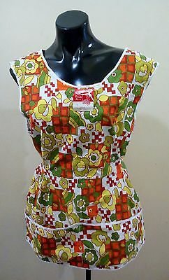 vintage 50s 60s abstract  pinafore apron retro