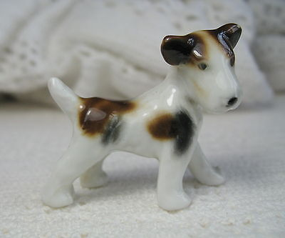 "Vintage Porcelain WIRE HAIRED FOX TERRIER PUPPY ~ Standing ~ 1.5"" Tall ~ Germany"