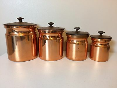 Vintage Copper Wood Lid Canister Set 4- Italy
