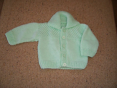 New Baby Hand Knitted Cardigan With Collar Nile Green 0-3 Months Approx