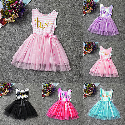 1st 2nd Third Birthday Dress Girls Toddlers Outfit Tutus Dresses Princess Party