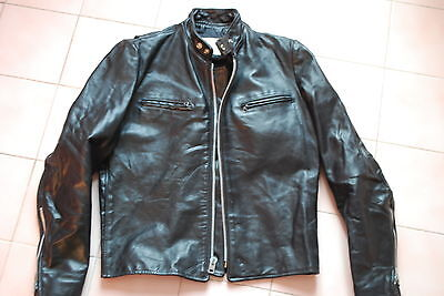 "blouson café racer cuir vintage horsehide ""Excelled"" made in USA noir 40us"