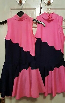 3 x Pink and navy lycra leotard size L