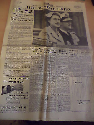 OLD VINTAGE NEWSPAPER 1950s SUNDAY TIMES 16 MAY 1954 ROYAL TOUR QUEEN ROYALTY