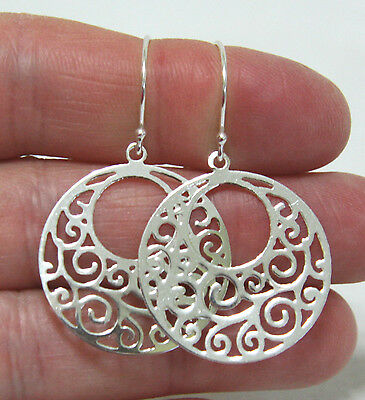 Large Circle Filigree Earrings in Solid Sterling Silver - Handmade in Canada