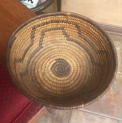 Early Native American Basket Indian Tohono Oodhan Papago tight weave Pictorial