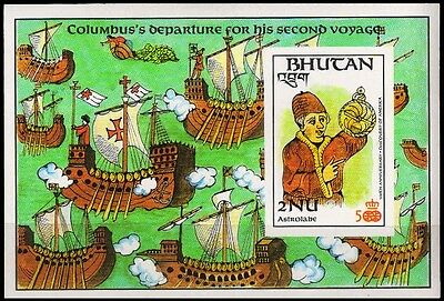 BHUTAN 1987-Navigator-Imperf Miniature Sheet-Scott No. 594d, S.G. MS 693e