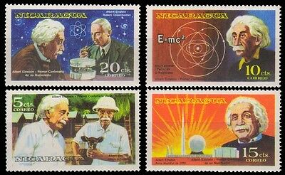 NICARAGUA 1980-Albert Einstein, Physicist-Einstein & Equation, Set of 4-MNH