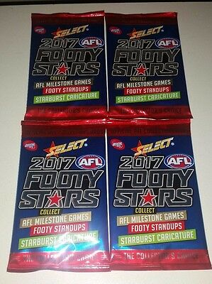 Lot Of 4 New Sealed Packs Of 2017 Afl Select Footy Stars Football Cards