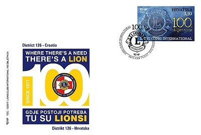Croatia 2017, LIONS CLUB INTERNATIONAL -  100 th  ANNIVERSARY, FDC