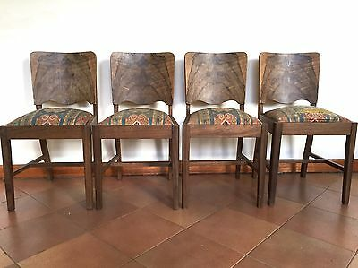 Vintage Art Deco Wood Dining Kitchen Chairs Beautiful Set Of 4 For Restoration