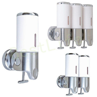 WHITE Shower Soap Dispenser Wall Mounted Shampoo Gel Liquid Soaps Conditioner