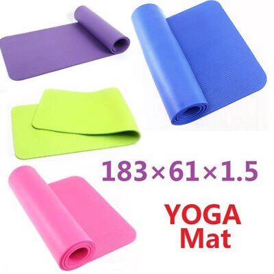 183*61*1.5 CM Non Slip Yoga Mat Exercise Fitness Workout Pilates Camping Gym