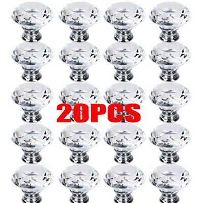 20pcs 30mm Diamond Shape Crystal Glass Door Cupboard Drawer Handle Pull Knob AU