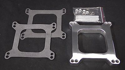 Carburetor Spacer 1/2  Inch Polished Aluminium Square Bore 1 Hole Holley-Afb