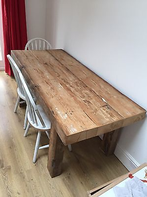 chunky rustic reclaimed dining table and chairs