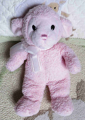 "Princess Soft Toys Fluffy Plush Sherpa Pink Lamb Sheep Stuffed Toy 11"" EUC"